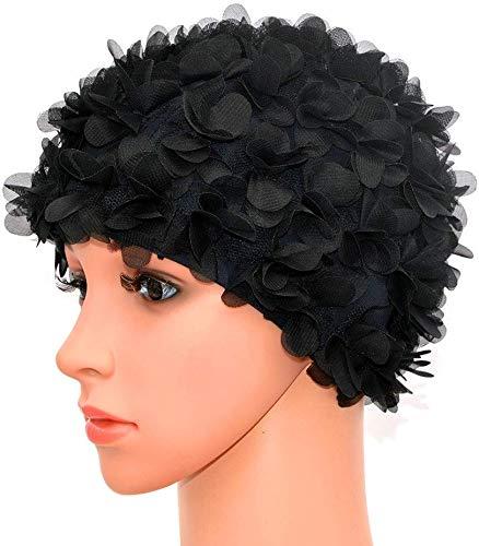 Haofy Cuffia Nuoto Donna, Floral Swim cap per Donna, Stile Vintage, Nuoto/Balneazione, Berretto da Bagno Pretty Retro(Black)