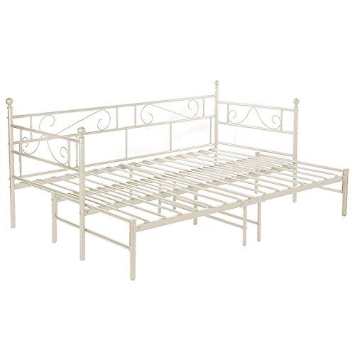 H.J WeDoo Cadre de lit de Jour Métal Structure lit + lit gigogne avec sommier pour Enfants ou Adulte Peut être prolongé de 95-177 cm (Blanc)
