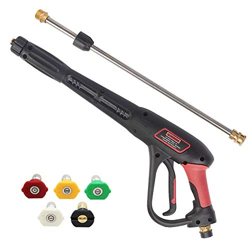 Twinkle Star Pressure Washer Gun with 21 Inch Pressure Washer Wand, 5 Nozzles Tips, Suitable for Pressure Washer Hose & Pressure Washer, 4000 PSI, NOT FIT Garden Hose OR Water Hose