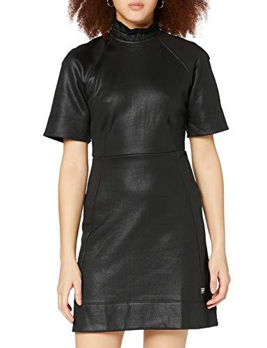 G-STAR RAW Glossy High Collar Vestido Casual, Dk Black C537/6484, XXS para Mujer