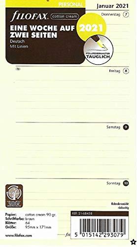 Filofax 2021 Kalender A6 Wochenblätter 1Woche 2Seiten Kalendarium Cotton Cream Kalendereinlage 21-68458