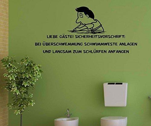 Wandtattoo WC Toilette Spruch 'Liebe Gäste' Wand Sticker Aufkleber Klo 1K244, Farbe:Königsblau Matt;Breite vom Motiv:40cm