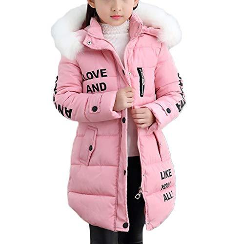 DaiHan Mädchen Lange Winterjacke Kinder Wintermantel Mit Falsch Fellkapuze Warm Jacke Pink 140CM
