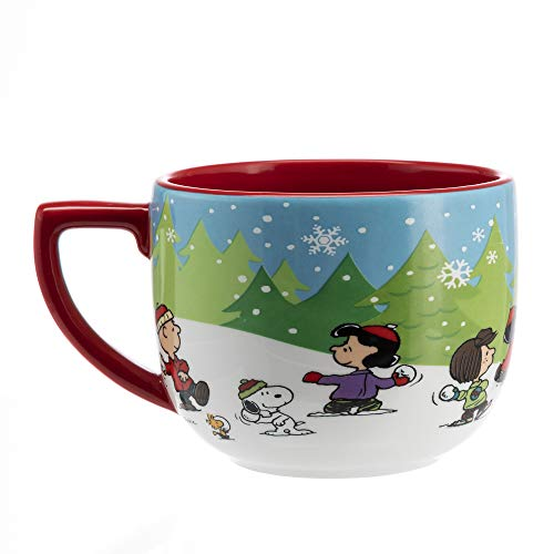 Hallmark 6MJC3026 One Oversized Snoopy Peanuts Mug, Extra Large, Re, White, Blue,...