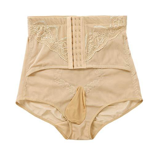 Alvivi Herren Slips Hoch Taille Figurformende Bauchweg Miederslip Body Shapewear Kompression Crossdresser Dessous Unterwäsche Nackt B 5XL