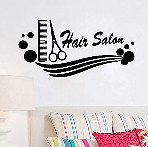 Arte de la pared Barbería Calcomanía de vinilo Peine Tijeras Peluquería Corte de pelo Etiqueta de la pared Peluquería para peluquería Escaparate Decoración 84X42 Cm