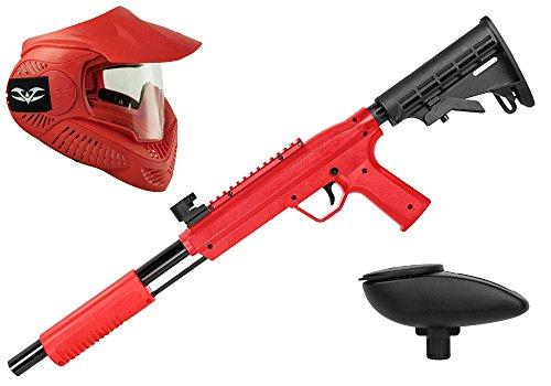 Valken Kinder Kids Tactical Gotcha Gun inkl. MI-3 Maske und Loader 120-cal. 50, 0.5 J-red Paintball Markierer Set, rot, M