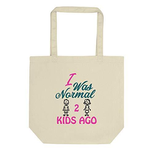 Divertido, humoroso, mamá, papá, padre, regalo unisex, mamá y papá de 2, I Was Normal 2 Kids Age, bolsa ecológica reutilizable