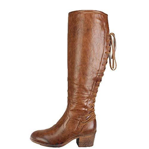 Geili Damen Langschaft Stiefel Schnürstiefel Vintage Hohe Stiefel mit Blockabsatz Warme Gefüttert Wasserdicht Winterstiefel Übergrößen Lange Boots Kniestiefel Cowboystiefel