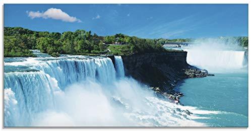 Artland Glasbilder Wandbild Glas Bild einteilig 100x50 cm Querformat Natur Landschaft Wasserfall Niagara Fälle Dschungel Urwald Blau T5SG