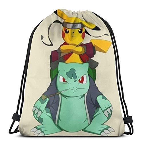 LUCKY Home Bolsa clásica con cordón de pikachu y Bulbasaur para gimnasio, bolsa de almacenamiento de deporte, para hombre y mujer