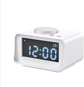 ZXL Réveil Multifonctions électronique LED muet Snooze Lumineux USB de Charge surdimensionné Horloge Grand écran Horloge, Blanc