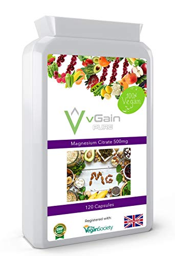 Magnesium Citrate Capsules Providing Buffered Elemental Magnesium Per Serving by vGain PURE - Certified Vegan by The Vegan Society - Easily Absorbed Active Magnesium in Natural Form - for Men & Women