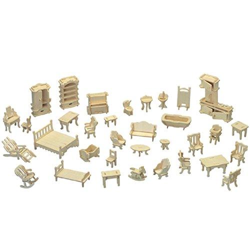 Cuteroom, set di 28 mobiletti in legno per casa delle bambole