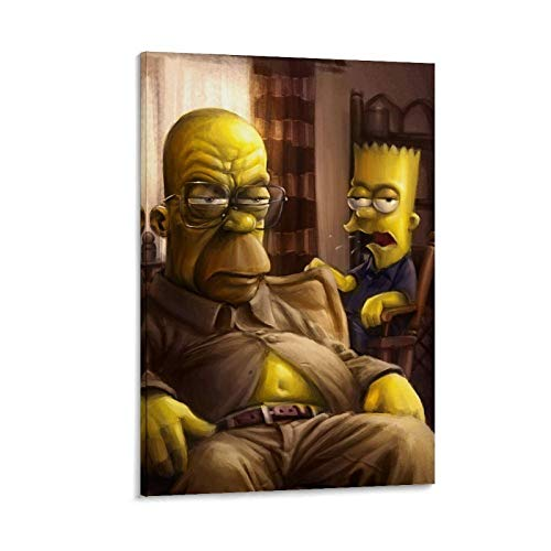 ZHAOSHANG Animtion Color Painting Bart Simpson, Homer Jay and Bart, Character Set Art Poster Poster Decorative Painting Canvas Wall Art Living Room Posters Bedroom Painting 24x36inch(60x90cm)