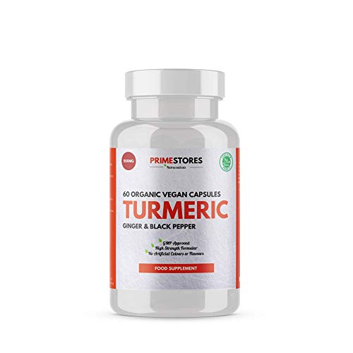 Turmeric Curcumin Black Pepper Bioperine Tablets 500mg - 60 Organic Vegan Capsules - High Strength Joint Pain Supplement Pills by Primestores