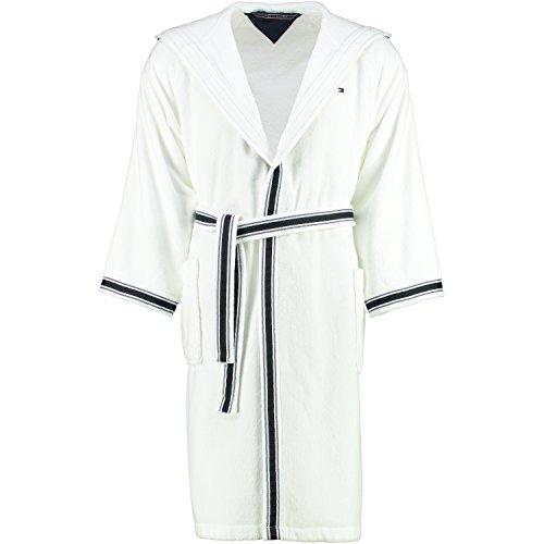 Tommy hilfiger university peignoir de bain en velours pour homme, Coton, Blanc, XXL