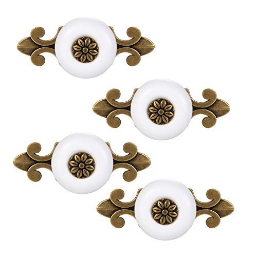 Set di 4 pomelli in metallo per cassetti e cassetti, in ceramica, per armadi, cassetti