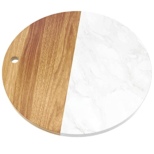 12' Wood and Marble Round Charcuterie Board - Acacia Wood Cheese Board Serving Tray - Charcuterie Platter for Cheese and Wine Gifts Cutting Board/Marble Kitchen Accessories Perfect for Display