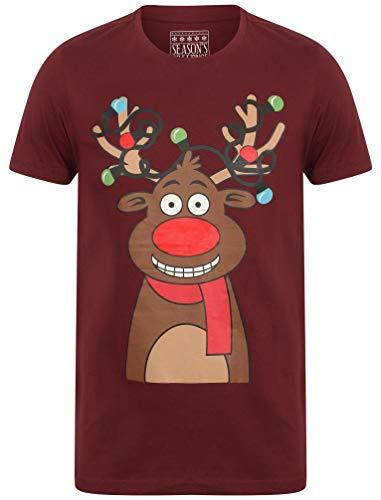 Tokyo Laundry Herren Weihnachts T-Shirt Gr. M, Oxblood