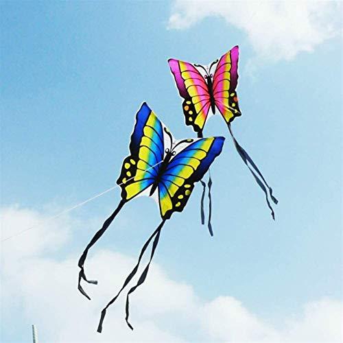 Decor Cometas, Mariposa Cometa con Línea de Mango Línea Niños Cometa Volar Juguetes Easy Control Ripstop Nylon Birds Eagle Kite (Color : Blue 100 m Kite Line)