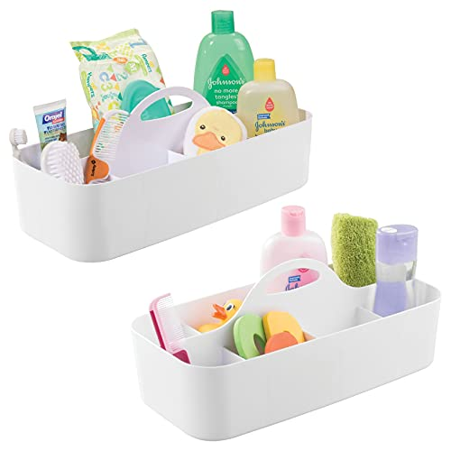 mDesign Badezimmer Organizer – 11-Fächer Aufbewahrungskorb und Ablage mit Griff - 2er-Set