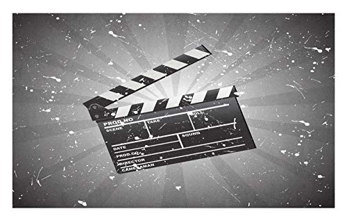 Ambesonne Movie Theater Doormat, Clapper Board on Retro Backdrop with Grunge Effect Director Cut Scene, Decorative Polyester Floor Mat with Non-Skid Backing, 30' X 18', White Black