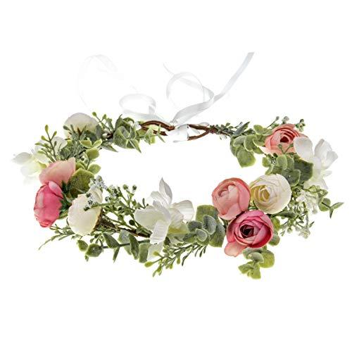 Vividsun Boho Flower Headband Floral Garland Crown Wedding Festival Party Headpiece (Green/Pink White)