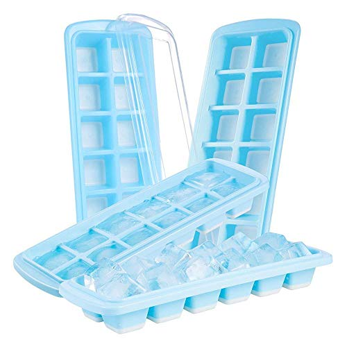 HeWan Ice Cube mould-4 set Ice Cube lade Ice Maker trays siliconen met anti-pil deksel BPA mallen voor vriezer water Whiskey Cocktail