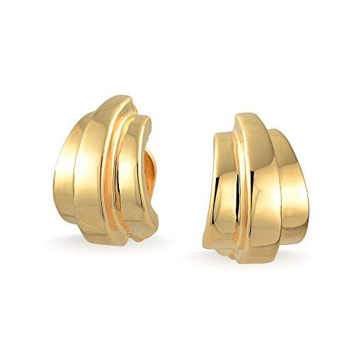 Geometric Shrimp Half Hoop Clip On Earrings For Women Non Pierced Ears Polished 14K Gold Plated Brass