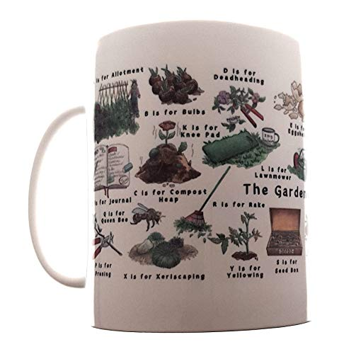 Shelli Graham Gardeners Alphabet Mug | A to Z Illustrations | Garden Enthusiasts, Allotment Keepers, Green Fingered Experts