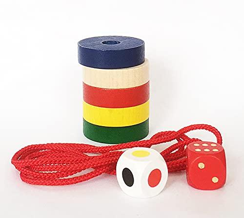 プラステン 木のおもちゃ パーツ リング 5個 (5色各1・紐・サイコロ2個セット)