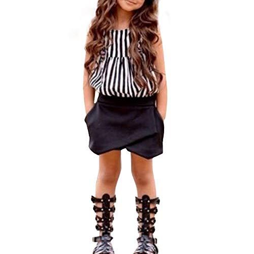 Obestseller Kinder Bekleidungsset,Kleinkind Kinder Baby Mädchen Outfit Kleidung Gestreiftes T-Shirt Tops + Shorts Hosen,Frühlings und Sommeranzug,Mädchenbekleidung,Zweiteiliges Set