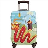 Copri bagaglio da viaggio festivo di cespugli di padiglione cinese ed erba sulla protezione della valigia taglia L