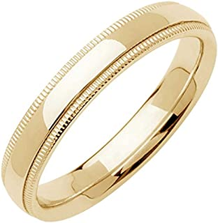 18K Gold Traditional Milgrain Edge Men's Comfort Fit Wedding Band (4mm)