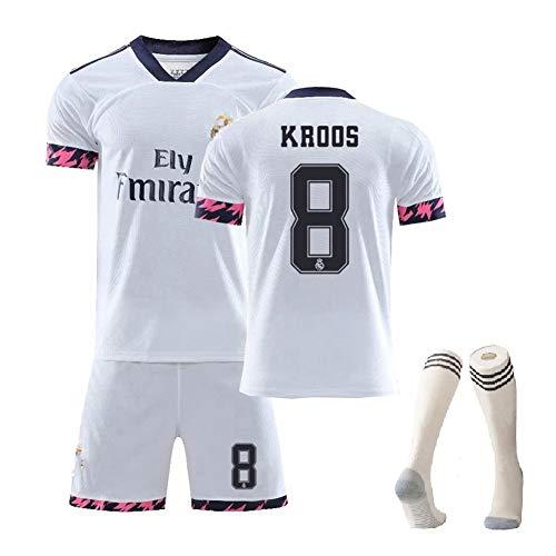 MRRTIME Fußballkleidung Kinder für Männer, Hazard Benzema ISCO Kroos Sergio Ramos Modric Bale Fan Trikot, Saison 2019-2020 Heimfußballuniform mit Socken-No 8-24