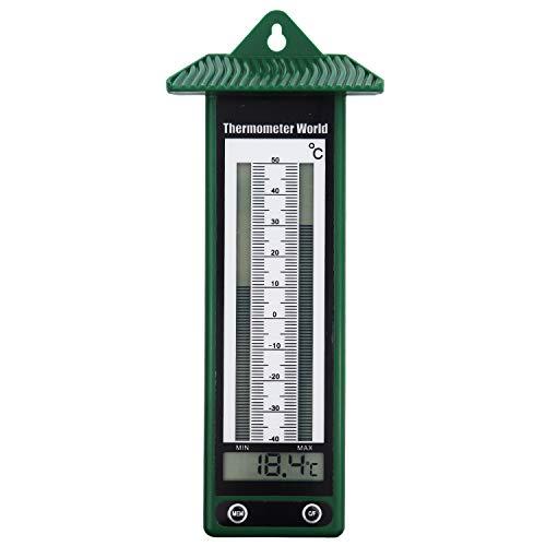 Max-Min-Thermometer, klassisches Design in Grün, -40 bis +50 C, digitales Thermometer, für Gewächshaus, Wintergarten, mit Anzeige von Maximal- und Minimaltemperatur