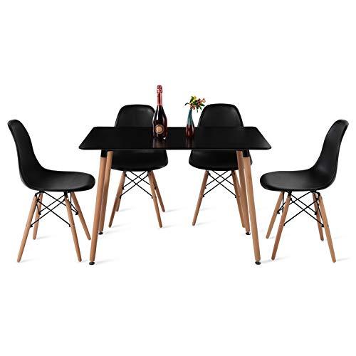DORAFAIR Set aus Esstisch Rechteckig und 4 Skandinavischen Schwarzer Stühlen, für Küche Esszimmer Konferenzraum, Schwarzer Tisch