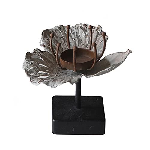 YZERTLH Soporte de Vela de Hierro Forjado Retro Adornos de Soporte de Vela romántica Creativa Lotus lámpara Porta Titular de Cera Decoraciones de jardín (Color : A)