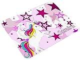 CreaDesign, Frühstücksbrettchen Kinder mit Namen personalisiert, Brettchen Kunststoff Motiv Einhorn Sterne Rosa, Schneidebrett Größe 20 x 25 x 0,4 cm
