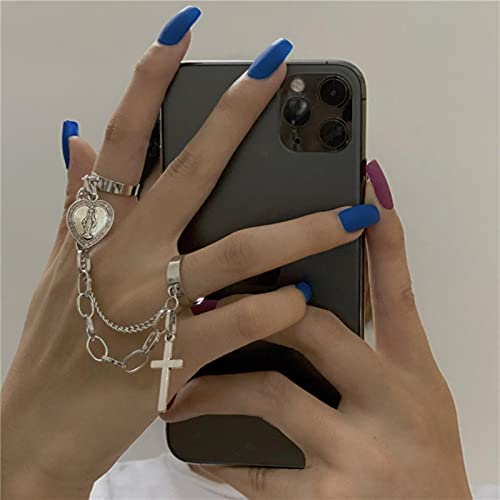 Fashion Metal Vintage Punk Hip Hop Style Cross Siamese Adjustable Open Ring Party Men And Women Jewelry Gift