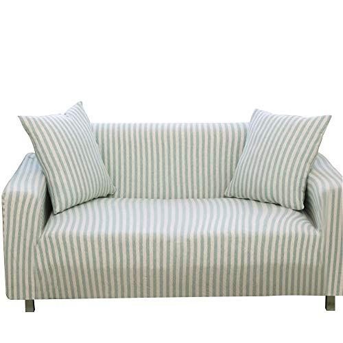 YAOJP Sofa Bezug Staubdicht Voll Abgedeckt Elastische Sofaüberwurf Protector 1/2/3/4 Sitzer Baumwolle Streifen,3 Seater 190~230cm