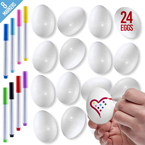 Prextex White Easter Eggs - Pack of 24 White Paintable Plastic Easter Eggs with 8 Color Markers for DIY Doodling and Design - Great for Easter Hunts, Basket Fillers, Easter Gift and Party Favor