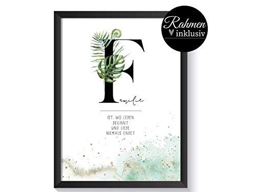Typo Poster Spruch Familie mit Rahmen, Geschenk Weihnachten, Deko Bilder Wohnzimmer, Set A4, Buchstaben Bilder, Buchstabe F