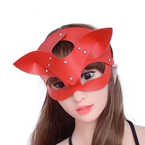 ZZDD FlExyh Reizendes Hundeohr-Form-justierbare Größen-Leder-Masken-weibliches durchführendes Augenklappen-T-Shirt Sunglasses Raincoat (Color : Red)