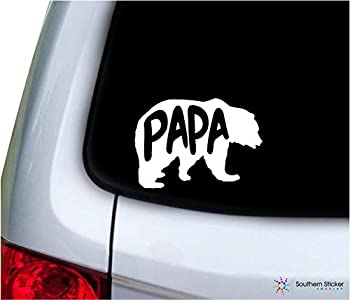 Bear papa Text 5.4x3.8 inches Size Family United States America Color Sticker State Decal Vinyl Laptop car Window Truck - Made and Shipped in USA  White