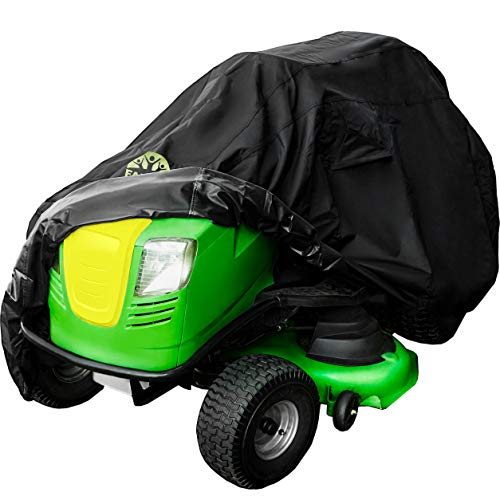 """Family Accessories Waterproof Riding Lawn Mower Cover, Heavy Duty Water Resistant Garden Tractor Cover, Weatherproof Outdoor Storage for Ride On Lawnmower Engine, Deck Up to 54"""""""
