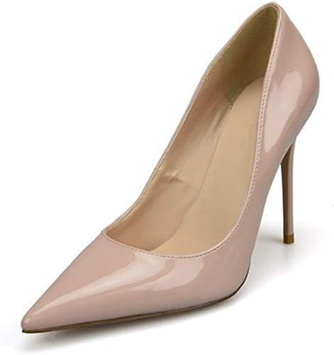 MUJUN Mode été élégant Pompes à Bout Pointu D'Orsay pour Les Femmes, en Cuir Microfibre Verni Talons Hauts Stiletto Cocktail Party Ball Prom Robe chaussures (Couleur   Nude 8 cm Heel, Taille   38 EU)