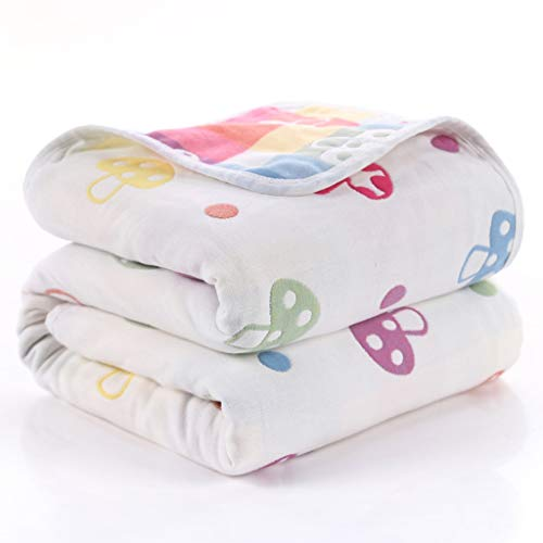 CUJUX Toalla de Ducha de baño Suave de algodón para niños y bebés, Manta de Gasa para recién Nacidos, Mantas de recepción, Manta para bebé, Envoltura 80x80cm (Color : A)