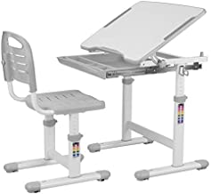 POTBY Kids Desk and Chair Set, Height Adjustable Children Study Table Students Interactive Workstation, with Wood Tiltable Anti-Reflective Tabletop and Pull-Out Drawer for School Boys & Girls (Gray)